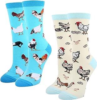 Womens Girls Novelty Crazy Chicken Dog Socks, Cute Funny Animal Corgi Hen Socks