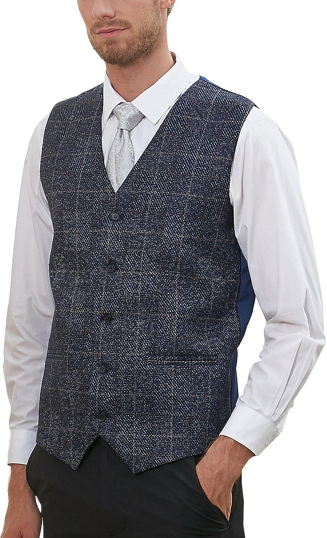 Hanayome Men's 5 Buttons Waistcoat Plaid Slim Fit Casual Suit Separate Vest