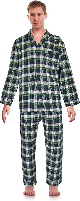 RK Classical Sleepwear Men's 100% Cotton Flannel Pajama Set,