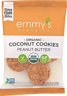Emmy's Organics Coconut Cookies, Peanut Butter, 2 oz (Pack of 12)