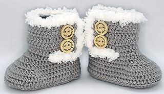 Patucos para bebé de crochet, Unisex. Estilo botas Canadá de color a elegir, realizadas en lana, tallas de 0 hasta 9 meses...