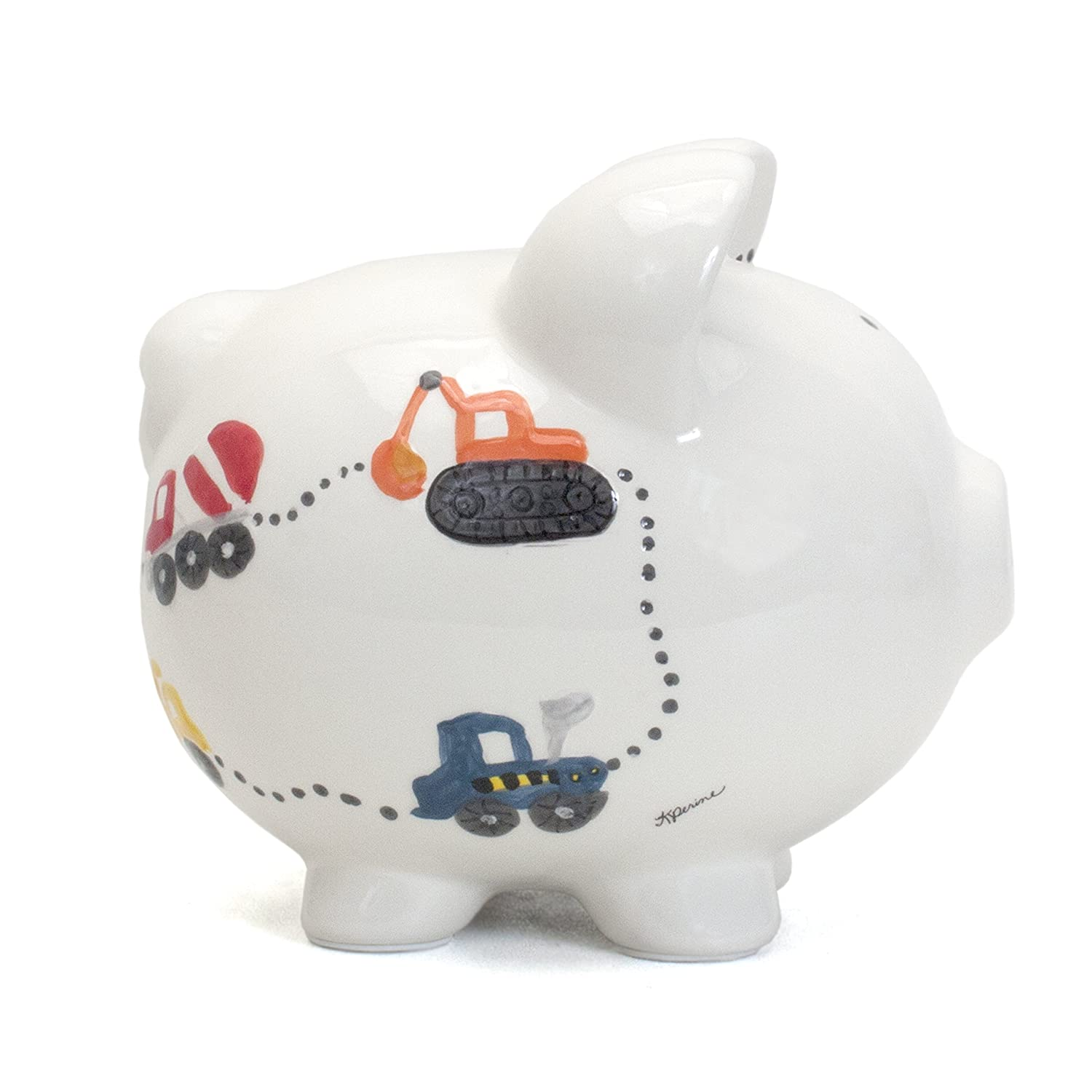 Child to Cherish Ceramic Piggy Bank for Boys Blue Double Whale