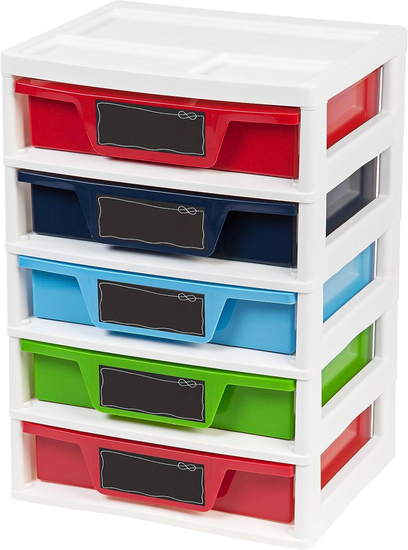 IRIS USA, Inc. 5 Drawer Storage & Organizer Chest, Assorted colors Primary