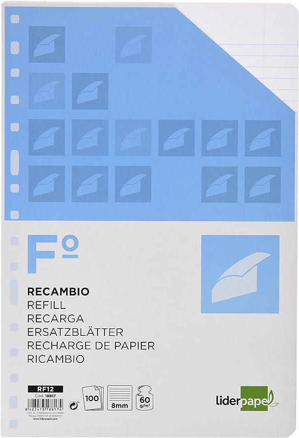 Pack de 4 Uds RECAMBIO 4 Anillas Folio LIDERPAPEL 100H