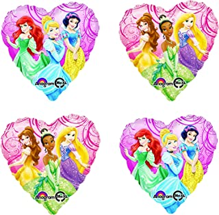 Princess Party Supplies Heart Balloons - 4 Pack Bundle of Licensed Disne Characters Cinderella Ariel Snow White Belle Tian...