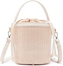 Sole Society Women's Nikole Textured Vegan Leather Bucket Bag with Handle and Detachable Strap