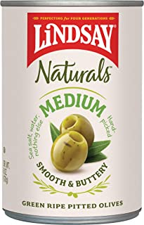 Lindsay Naturals Medium Pitted Ripe Green Olives, 6 oz (Pack of 12)