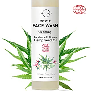 O Naturals Organic Hemp Oil Hydrating Day & Night Facial Cleanser. For Oily, Dry & Sensitive Skin. Gentle Pore Cleansing Exfoliating Face Wash. Anti-Aging Reduces Breakouts Blemishes & Wrinkles 8.45oz