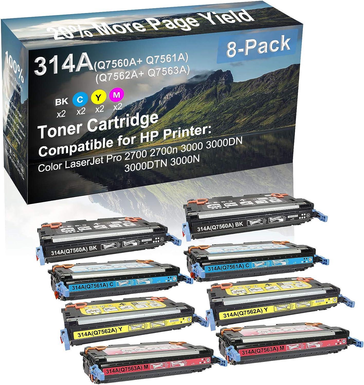 8-Pack (2BK+2C+2Y+2M) Compatible High Capacity 314A (Q7560A+ Q7561A+ Q7562A+ Q7563A) Toner Cartridge use for HP 2700 2700n Printer