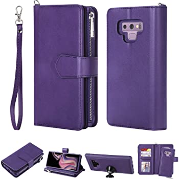 FLYEE Samsung Note 9 Case,Galaxy Note 9 Wallet Case, 8 Card Slots Premium Flip Wallet Leather Magnetic Case Purse with Zipper Coin Credit Card Holder Cover for Samsung Galaxy Note 9(6.4 inch) Purple