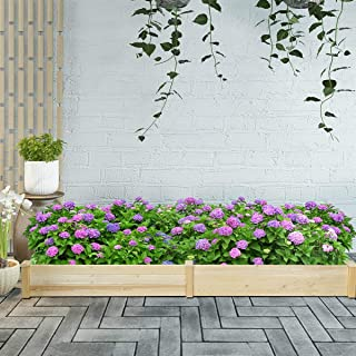 Home Outdoor Patio Garden Backyard Balcony Deck Porch Raised Flowers Vegetable Wood Planter Standing Box Bed Rustic Country Decor for Growing Plants Herbs Durable Natural Fir Wood Multifunctional