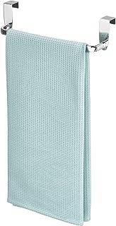 InterDesign Axis Toallero para paños de cocina, pequeño perchero para puerta de metal, toallero sin taladro para baño y cocina, plateado