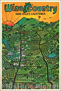 Historic Map - Wine Country Napa Valley, California, 1971, Earl Thollander - Vintage Wall Art 44in x 65in