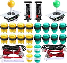 Hikig 2 Player DIY Parts Kit, LED Arcade Buttons 8 Ways Joystick and Zero Delay USB Encoder for Raspberry Pi & Windows Video Games Machine, Color: Yellow+Green