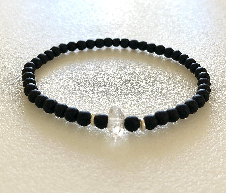 List price Men's Herkimer Diamond Bracelet Onyx Crystal Black At the price and