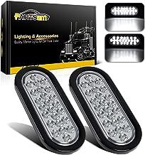 Partsam 2x Oval Clear Lens White Stop Turn Tail Backup Reverse Fog Lights Lamps Rubber Flush Mount 6