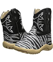 Roper Kids - Black and Silver Zebra Glitter Print (Infant/Toddler)