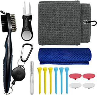Golf Club Cleaning Kit, Microfiber Waffle Pattern Magnetic Golf Towel with Clip, Sport Cooling Towel, Golf Brush and Groove Cleaner, Golf Divot Tool, 6pcs Golf tees 4 pcs Golf Markers and Spray Bottle