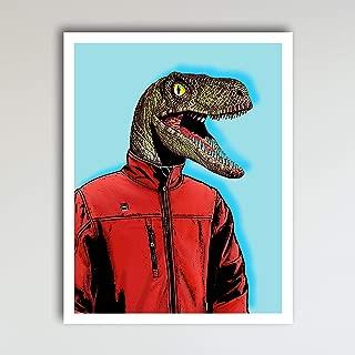 Dexter the Velociraptor Dinosaur Bedroom Decor - Fun and Cute Kids Bedroom Wall Decor - Children's Room & Nursery Prints - Art Print Poster Wall Decor 11x14 inches, Unframed
