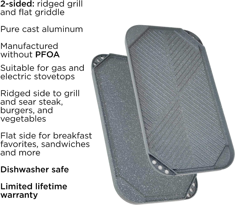 "Non-Stick Ecolution Reversible 19.5/"" x 11 Double Burner Family Griddle Grill Pan Cookware Cast Aluminum Dishwasher Safe Black"