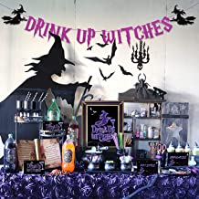 Bessmoso Halloween Drink Up Witches Banner Bar Sign Food Tent Label Drink Up Witches Decorations Kit for Witches Night Out Bachelorette Cocktail Party Tea Party Supplies (Purple)