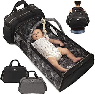 Portable Bassinet for Baby Travel - Travel Bassinets for Babies | Large 3 in 1 Diaper Bag Backpack Changing Station | Wear 5 Ways | Insulated Bottle and Wipes Pockets | Co Sleeper Portable Baby Bed