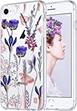 ULAK iPhone 8 Case Clear, Floral iPhone 7/6/6S Case, ULAK Slim Fit Protective & Anti-Scratch Resistant Hard Back Panel + TPU Bumper Cover for Apple iPhone 8,7,6 & 6S 4.7 inch-Romantic Lavender
