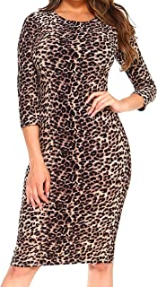 long sleeve leopard bodycon dress