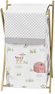 Sweet Jojo Designs Farm Animals Baby Kid Clothes Laundry Hamper - Watercolor Farmhouse Lattice Horse Cow Sheep Pig