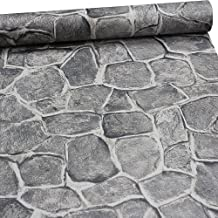 11 Yards Stone Wallpaper Peel and Stick Removable Castle Tower Rustic Contact Paper Rock Self Adhesive Wall Decoration Dark Grey Fortress