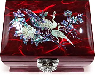 MADDesign Music Box Jewelry Ring Organizer Wood Mother of Pearl Inlay Peacock Red
