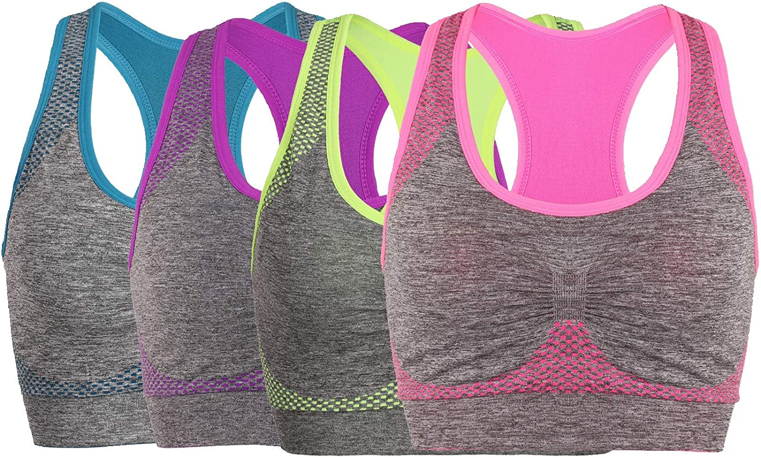 Litgo Sports Bras for Women Racerback Seamless Comfortable Yoga Gym Bra