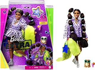 Barbie Extra Doll #7 in Top, Shorts & Furry Shrug with...