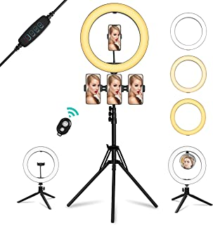 """Ring Light with Mirror, Summifit 14"""" Circle LED Light, Bluetooth Halo Lighting with 2 Tripod Stand, 3 Phone Holder for YouTube, TikTok, Live Streaming, Makeup, Selfie, iPhone Android"""