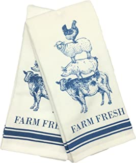 Casaba Blue Farm Fresh Rooster, Sheep, Pig, and Cow Kitchen Towel Set