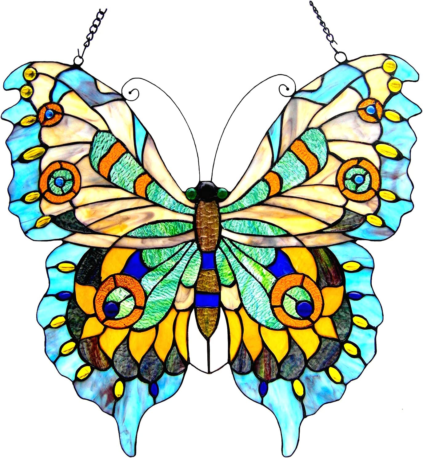 Chloe Lighting Easy-to-use Mariposa Tiffany-Glass Window Courier shipping free shipping 20X Butterfly Panel
