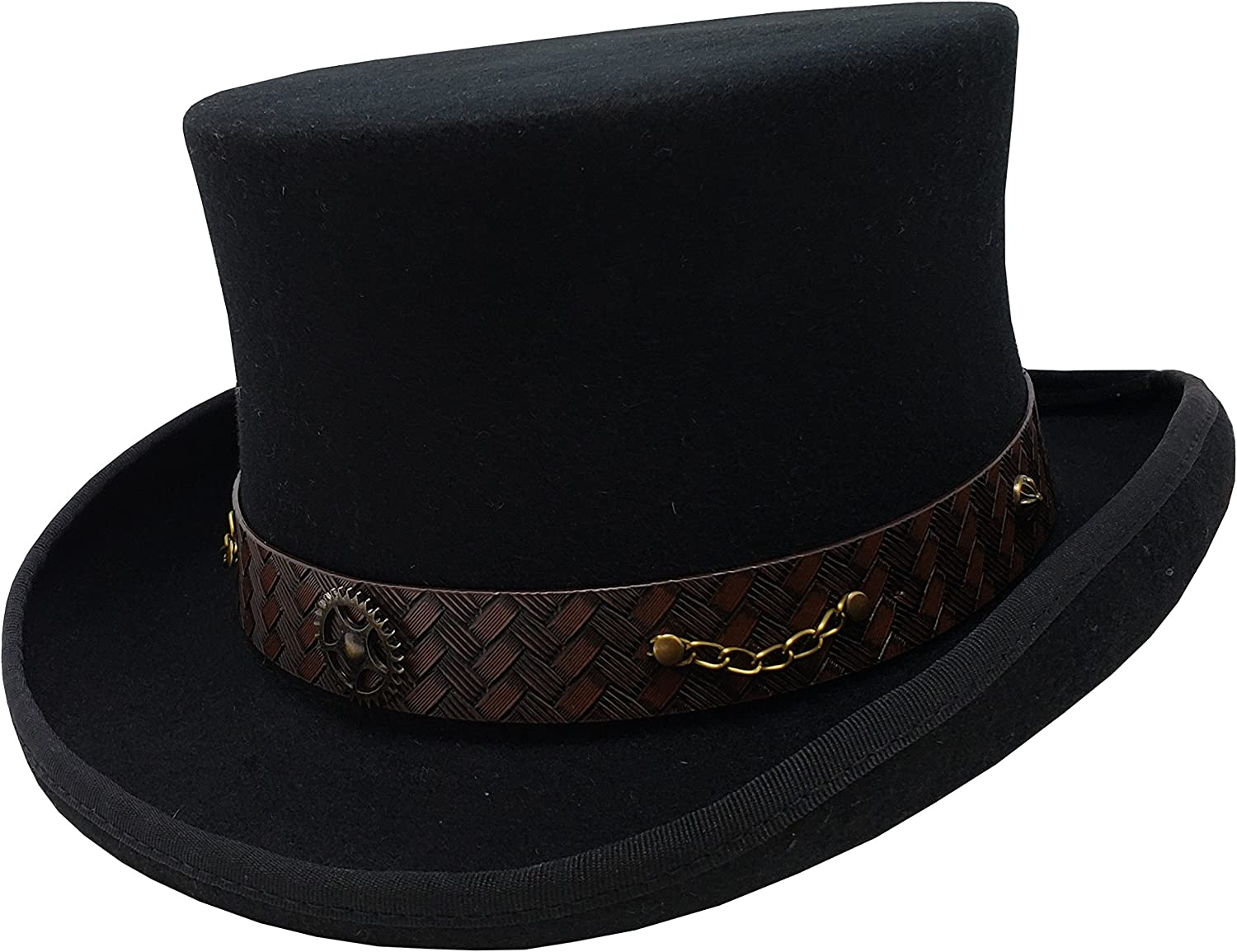 100% Wool Victorian Some reservation Western Steampunk Leath with Top Costume Hat latest