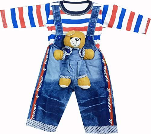 TENDERCARE Baby boy & Baby Girl Denim Dungaree Set with Tshirt    Dress and Clothes for Baby boy & Baby Girl (0-6 Mon...