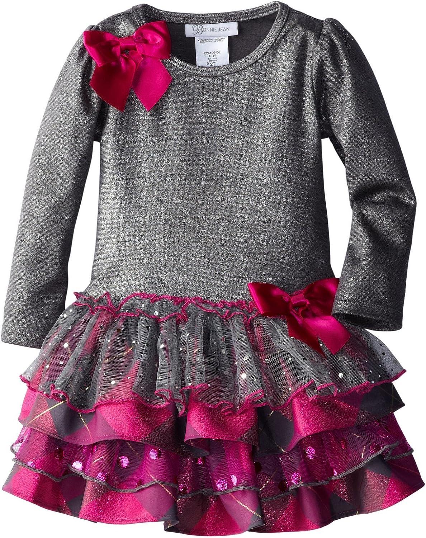 Bonnie Jean Little Girls' Grey Dropwaist to Multi Tiered Skirt,