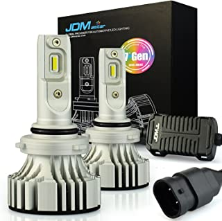 JDM ASTAR No Dark Spot Design 8000 Lumens Extremely Bright 9006 LED Headlight Bulbs Conversion Kit, Xenon White- Adjustable Light Angel Not Blinding On Coming Driver