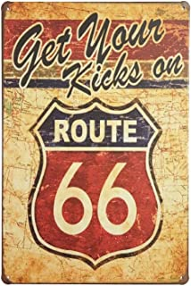 ERLOOD Get Your Kicks Route 66 Metal Retro Wall Plaque Decor Vintage Tin Sign 12 X 8