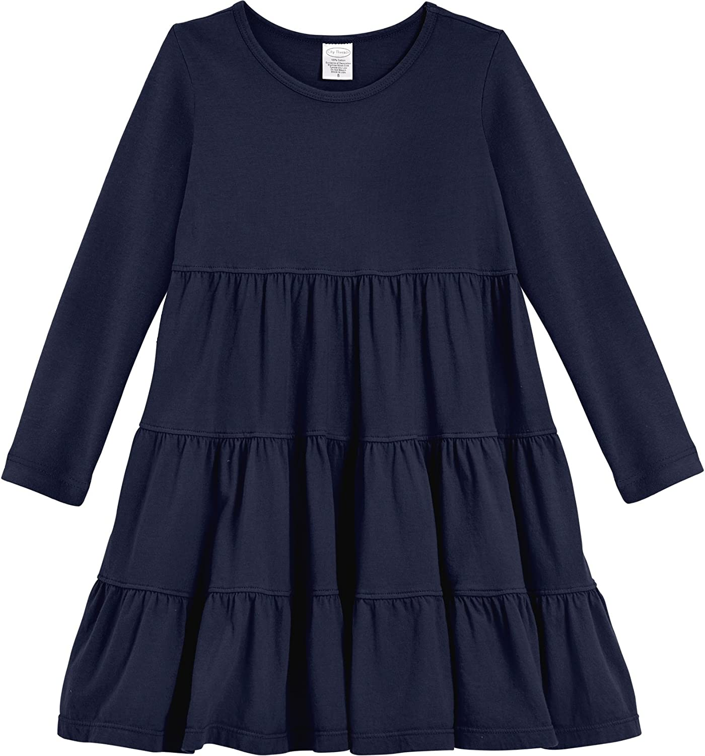 City Threads Girls' Super Soft SEAL limited product Cotton Long P Sleeve Dress Fees free!! Tiered