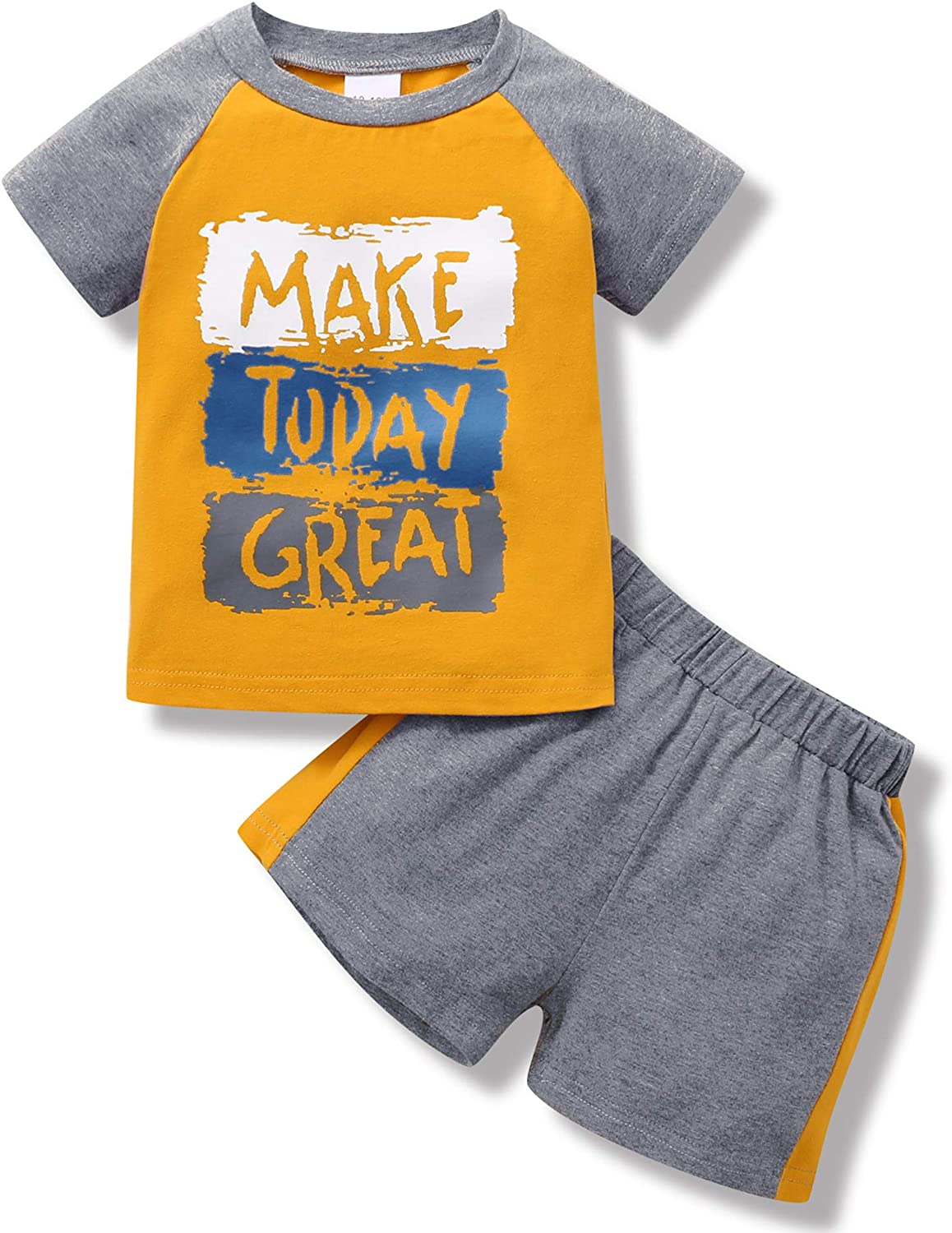 2T Baby Boy Clothes Tops Sweatshirt Pants Shorts Set Kids Baby Boy Outfits Cotton Letter Printes Baby Boy's Clothing Sweatsuit Summer Yellow 3T Boy Clothes 2PCS
