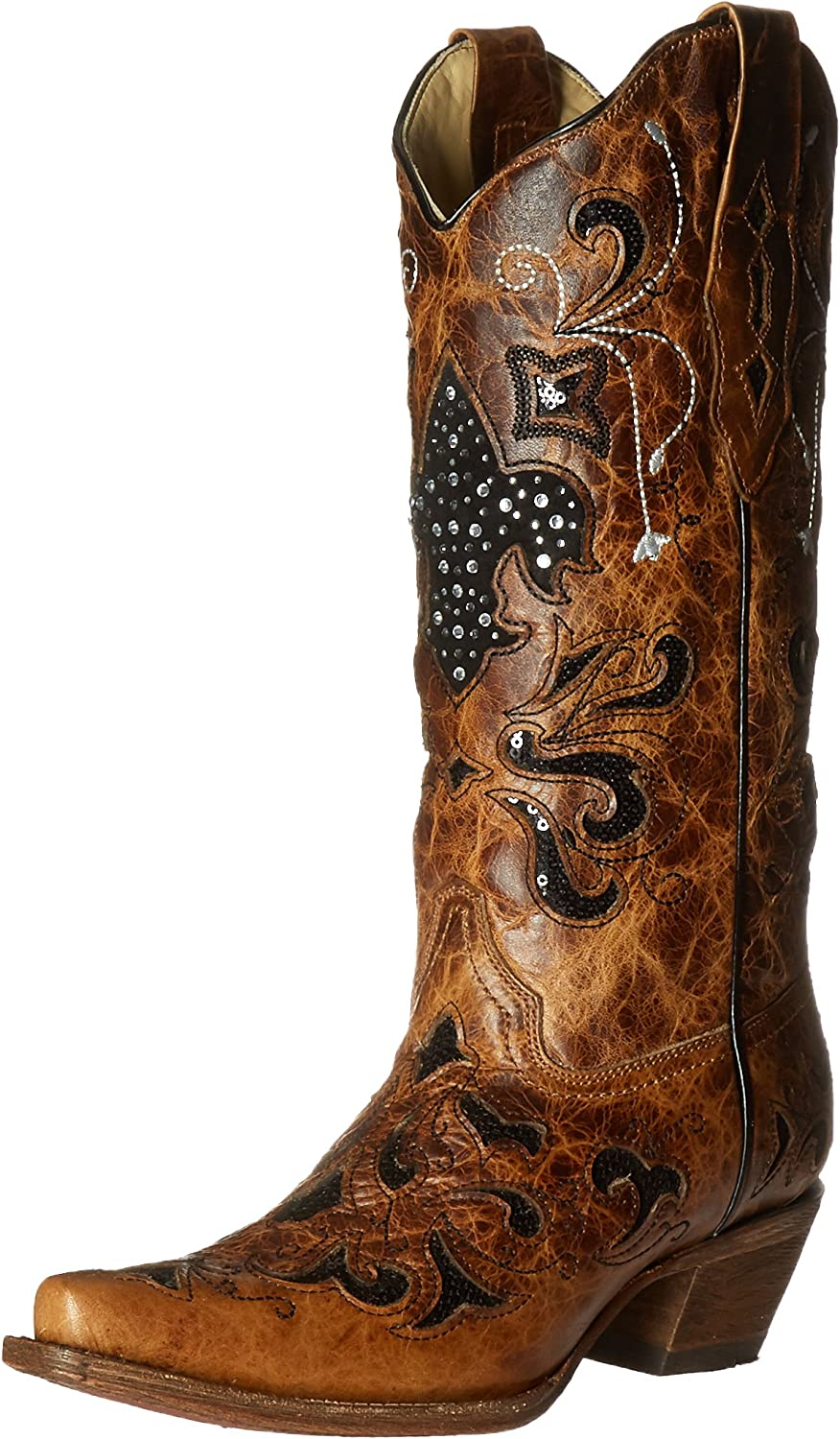 Corral Boots A2840 Antique Saddle Fleur De Lis Square Toe Boots