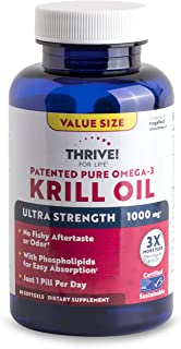 Thrive! for Life Patented Pure Omega-3 Krill Oil Ultra Strength 1000 Mg, 60 Count