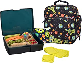 Bentology Lunch Bag and Box Set- Durable Insulated Tote w Bottle Holder- Boys School Lunchbox Includes Bento Box, 5 Containers & Ice Pack - BPA & PVC Free - Alien