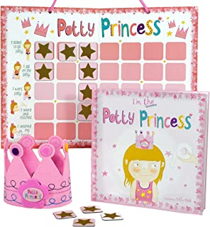 Princess Potty Training Gift Set with Book, Potty Chart, Star Magnets, and Reward Crown for Toddler Girls. Comes in Castle...