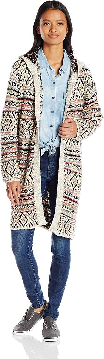 Angie Womens Multicolor Hooded Sweater Cardigan Sweater