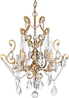Amalfi Decor 4 Light LED Crystal Beaded Chandelier, Mini Wrought Iron K9 Glass Pendant Light Fixture Vintage Nursery Kids Room Dimmable Plug in Hanging Ceiling Lamp, Gold