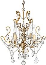 Amalfi Decor 4 Light LED Crystal Beaded Chandelier, Mini Wrought Iron K9 Glass Pendant Light Fixture Vintage Nursery Kids Room Dimmable Plug in Hanging Ceiling Lamp, Gold